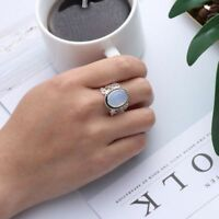 Boho Tibetan Natural Gemstone 925 Silver Oval Rainbow Moonstone Ring