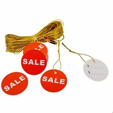 Red Round Sale Price Tag with golden string Thread for Shop Promotion Pack of 48