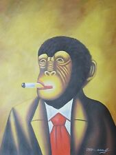 abstract monkey tie smoking cigar oil painting canvas contemporary original