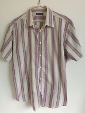 """Ted Baker Size 4 (Large, 40"""" Chest) Grey Pink Yellow Short Sleeve Stripe Shirt"""