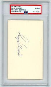 Roger Maris Signed Index Card HOF AUTO PSA/DNA MINT 9 Authentic Yankees