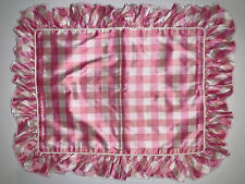 Pink Gingham 100% Silk Ruffled Rectangle Throw Pillow Cover By Kristaben 16 X 12