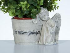 Grabschmuck Grabdeko Engel Pflanztopf Blumentopf Friedhof Grabengel grau Deko