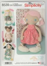 """Simplicity Sewing Pattern 8539 Whimsy Stuffed 15"""" Dolls with Clothes Ragdolls"""