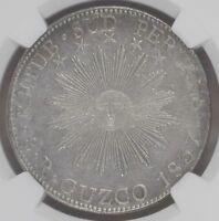 1837 South Peru BA 8 reales Confederation Cusco silver republic NGC AU RARE