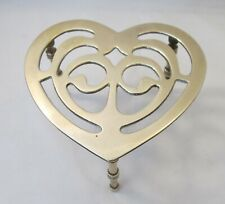 A Vintage Brass Trivet / Fireside Stand / Fireplace - Heart Shape