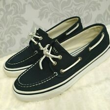 Sperry Top Sider Bahama 2 Eye Mens Size 9 Canvas Boat Shoes Navy White Slip On