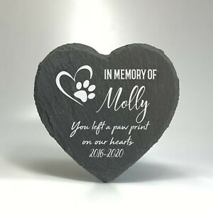 Personalised Pet Memorial Stone Slate Heart Grave Marker Plaque For Cat Dog 2020