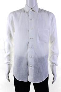 Loro Piana Mens Linen Collared Button Down Shirt White Size Large