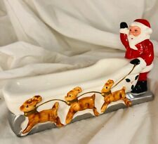 New ListingMcm Christmas Ceramic Santa Claus Sleigh Vtg Reindeer Candy dish serving dish