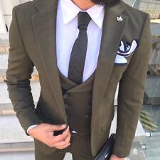 Designer Business GREEN SUIT MEN'S SUIT JACKET VEST FITTED SLIM FIT 46