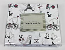 Sleeping Partners Paris Eiffel Tower Cat Bicycle Bike Twin 3 pc Sheet Set Kids