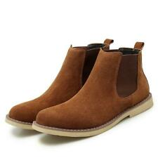 Men Chelsea Boots Suede Ankle Booties Casual Winter Warm Round Toe Shoes Slip on