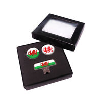 Golf Cap Clip Wales Flag + 2 Ball Markers by Asbri. Society Gift or Present