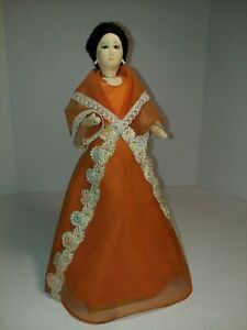 Vintage Hand Painted Cloth Covered Filipino Doll on Wood Stand 11""
