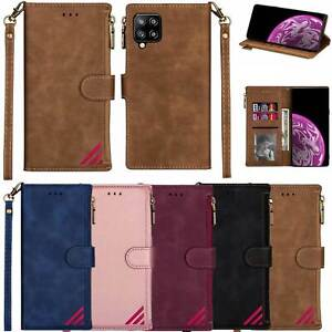 Luxury Zipper Wallet Leather Card Case for Samsung S20 FE S21 A52 A21S Note 20