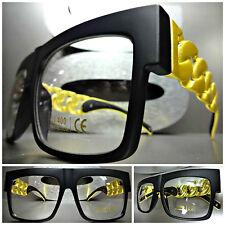 CLASSIC RETRO VINTAGE Clear Lens EYE GLASSES Matte Black & Gold Chain Link Frame
