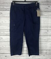 White Stag Women's Blue Knit Waistband Cargo Capri Pants Size 6 NWT