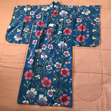 Peacock Blue Pink Floral Japanese Yukata Kimono - Girl's Youth Size 5-6 Yrs old