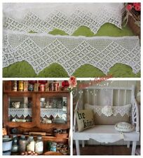 "1Y Vintage Victorian Hand Crochet Lace Trim~8"" Wide~White~Cotton~Snowflake~DIY~"