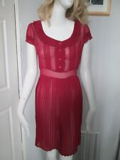 ATMOSPHERE - RED, PLEATED SKIRT, BUTTON NECK DRESS SIZE 8 -100% POLYESTER