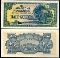 NETHERLAND INDIES 1/2 GULDEN 1942 P 122 AUNC ABOUT UNC
