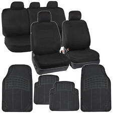 Black Seat Covers & All Weather Mats for Car Auto SUV Cloth 60/40 Split Bench