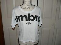 Umbro Crew Neck Womens Short Sleeve Top White Sports Training T-Shirt