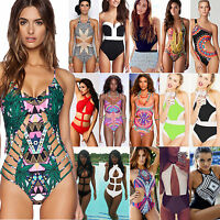 Damen Monokini Paddded Bademode Push Up Bandage Bikini Badeanzug Strand Clubwear