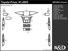 TOYOTA PRIUS 2001 2002 2003 DASH TRIM KIT a