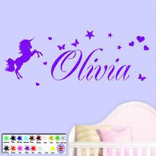 Wall Art Sticker - Personalised Name Unicorn Stars Girls Bedroom Childrens Vinyl
