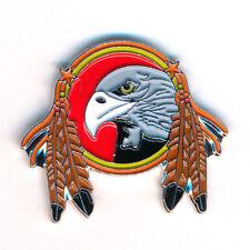 Traumfänger Dreamcatcher Adler mit Federn Badge Metall Button Pin Anstecker 0362