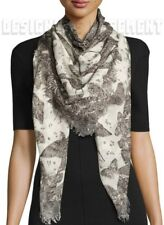 "ALEXANDER MCQUEEN ivory WILDFLOWER FLIGHT SKULL modal/silk 52"" scarf NWT Authent"