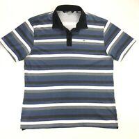 Travis Mathew Mens XXL Pima Cotton Blue Gray Stripe Short Sleeve Golf Polo Shirt