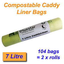 104 x 7 Litre Compostable Food Waste Caddy Liner Bags Biodegradeable