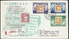 2740 PHILIPPINES TO SPAIN REGISTERED FDC COVER 1954 STAMP ON STAMP MANILA - BCNA