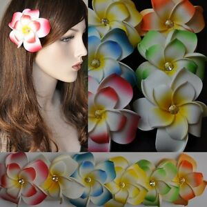 Flower Frangipani Bloom Rhinestone Hair Clip 6 Colours Hawaii Decoration