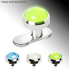 3MM OR 4MM GLOW IN THE DARK DERMAL TOP HEADS 14GA CHOICE OF COLOR AND SIZE