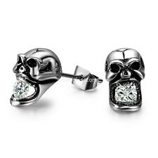Vintage Gothic Skull CZ Siver Tone Stainless Steel Stud Earrings for Men 2pcs