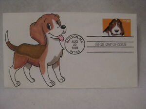 hand rendered Beagle pup pooch k9 dog puppy First Day FDC envelope