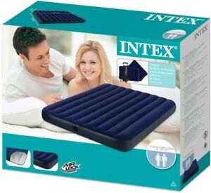 Classic Downy Set Airbed Intex 2 Pillows Double Quick Hand Pump Camping Queen Sz