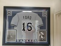 Whitey Ford signed NY Yankees Road Jersey Nicely Framed JSA
