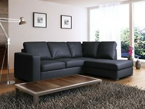 CORNER SOFA WESTPOINT BLACK FAUX LEATHER RIGHT HAND SIDE  BRAND NEW