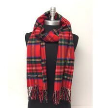 100% Cashmere Scarf Classic Plaid Red Forest Blue Yellow Scotland Soft Warm Wool