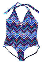 Jantzen Womens Swimsuit Halter Blue Plus Size 20W Chevron Geometric One Piece