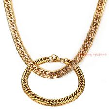 Set Mens Curb Cuban Necklace Bracelet New Charm 18K Gold Stainless Steel Jewelry