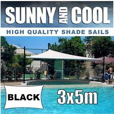 HEAVY DUTY SHADE SAIL-3x5M RECTANGLE IN BLACK 3x5,