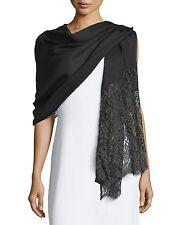 VALENTINO Golden Flower Lace Trim Black Silk Cashmere Fringe Wrap Scarf Shawl