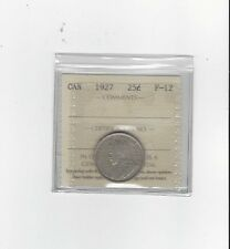 **1927**, ICCS Graded Canadian, 25 Cent, **F-12**