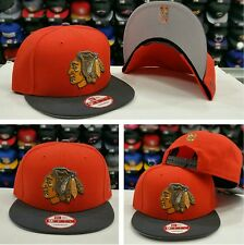 Exclusive New Era NHL Chicago Black Hawks snapback Hat Cap Orange Gray